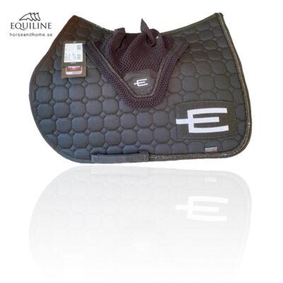 Equiline E-logga schabrak glittersvart/glittersvart passpoal + swarovski